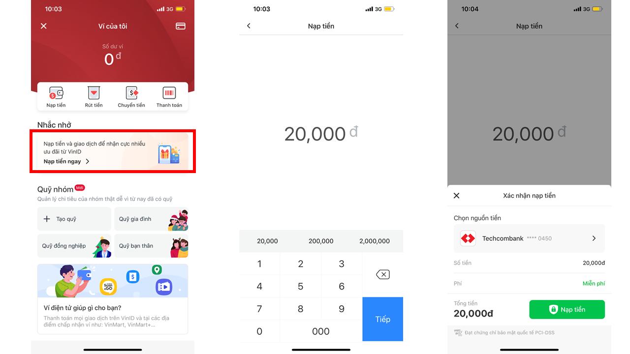 Hướng dẫn nạp tiền vào ví điện tử VinID Pay